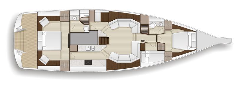 Hylas Yachts H57- 3 cabin layout